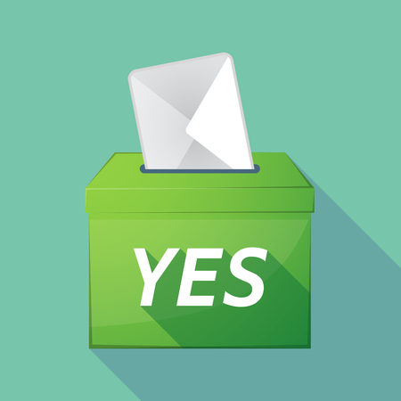 elect: Illustration of a long shadow vector ballot box icon with    the text YES