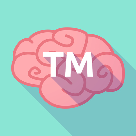 Illustration of a long shadow pink brain vector icon with    the text TM