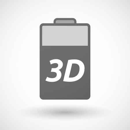 text 3d: Illustration of an isolated battery icon with    the text 3D Illustration