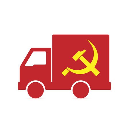 Illustration of an isolated delivery truck with  the communist symbol Illustration