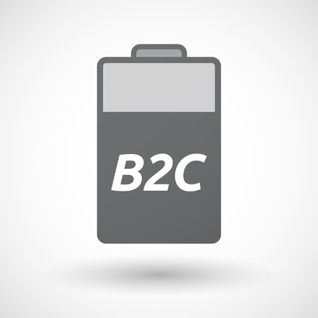 b2c: Illustration of an isolated battery icon with    the text B2C Illustration