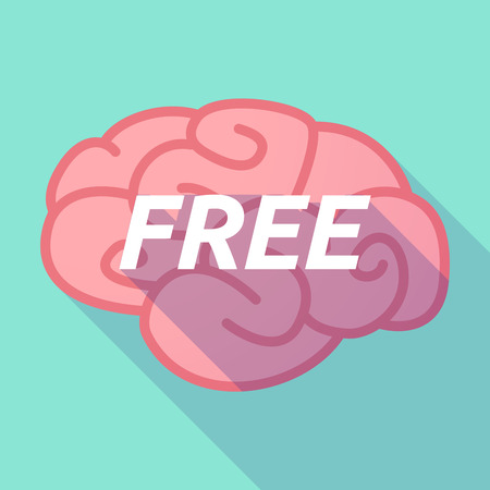 free the brain: Illustration of a long shadow pink brain vector icon with    the text  FREE