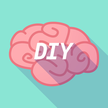 Illustration of a long shadow pink brain vector icon with    the text DIY Illustration
