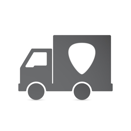 plectrum: Illustration of an isolated delivery truck with a plectrum