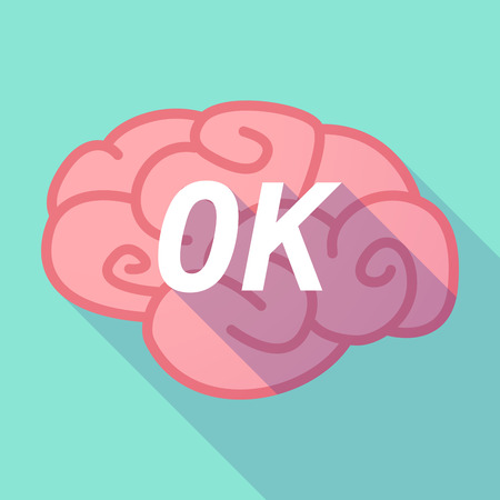 Illustration of a long shadow pink brain vector icon with   the text OK Illustration