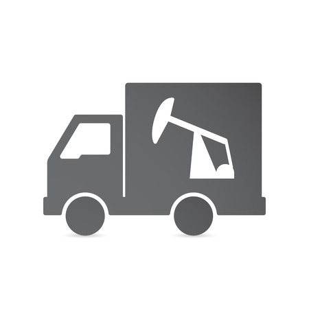 horsehead pump: Illustration of an isolated delivery truck with a horsehead pump