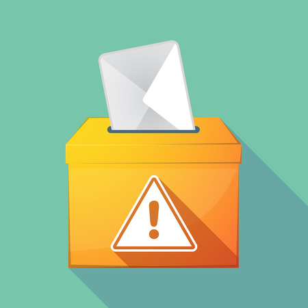 Illustration of a long shadow ballot box with a warning signal