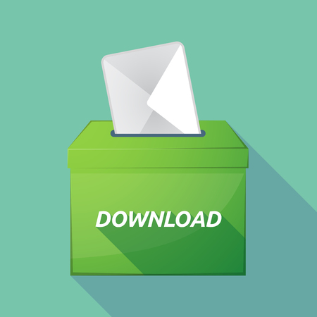 Illustration of a long shadow vector ballot box icon with    the text DOWNLOAD Illustration