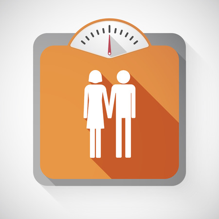 heterosexual: Illustration of an isolated long shadow body weight scale with  a heterosexual couple pictogram