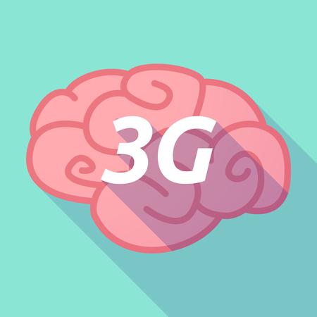 Illustration of a long shadow pink brain vector icon with    the text 3G