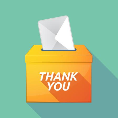 Illustration einer langen Schattenvektor-Wahlurnenikone mit dem Text DANKE