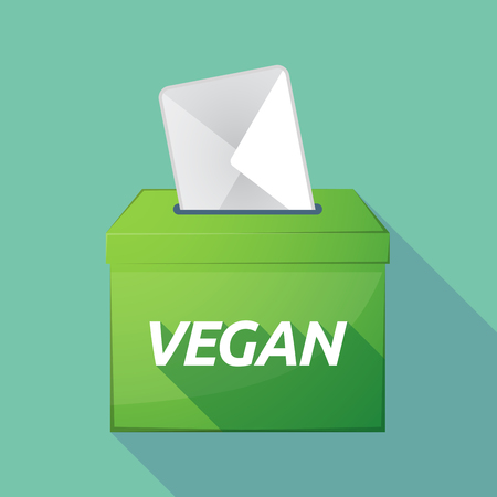 elect: Illustration of a long shadow vector ballot box icon with    the text VEGAN