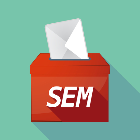 sem: Illustration of a long shadow vector ballot box icon with    the text SEM Illustration