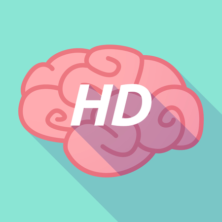 Illustration of a long shadow pink brain vector icon with    the text HD Illustration