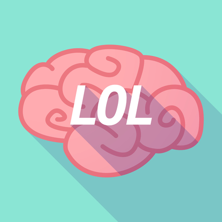 Illustration of a long shadow pink brain vector icon with    the text LOL