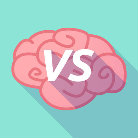 Illustration of a long shadow pink brain vector icon with    the text VS Illustration