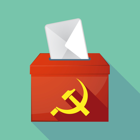 communist: Illustration of a long shadow ballot box with  the communist symbol
