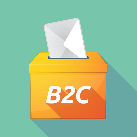 b2c: Illustration of a long shadow vector ballot box icon with    the text B2C