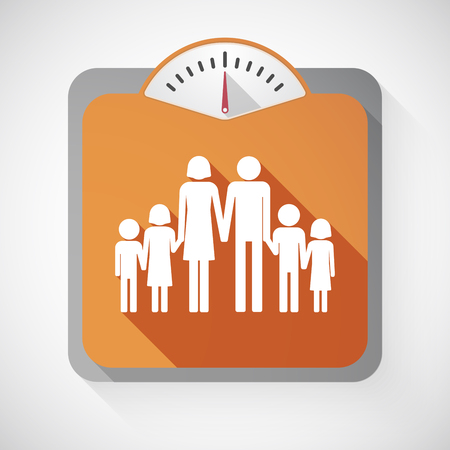 large family: Illustration of an isolated long shadow body weight scale with  a large family  pictogram