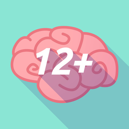 Illustration of a long shadow pink brain vector icon with    the text 12+