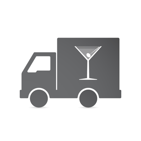 Illustration of an isolated delivery truck with a cocktail glass