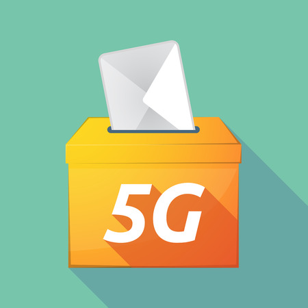elect: Illustration of a long shadow vector ballot box icon with    the text 5G