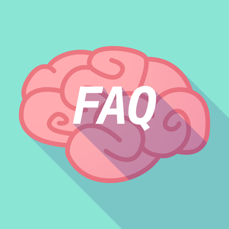 asked: Illustration of a long shadow pink brain vector icon with    the text FAQ