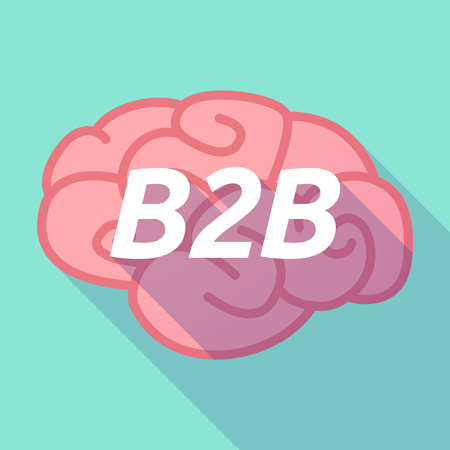 Illustration of a long shadow pink brain vector icon with    the text B2B