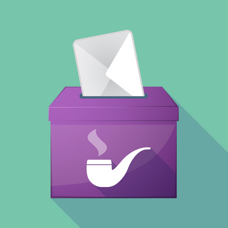 elect: Illustration of a long shadow ballot box with a smoking pipe