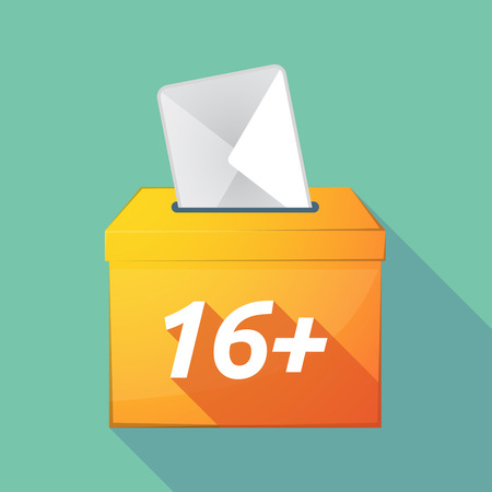 elect: Illustration of a long shadow vector ballot box icon with    the text 16+ Illustration