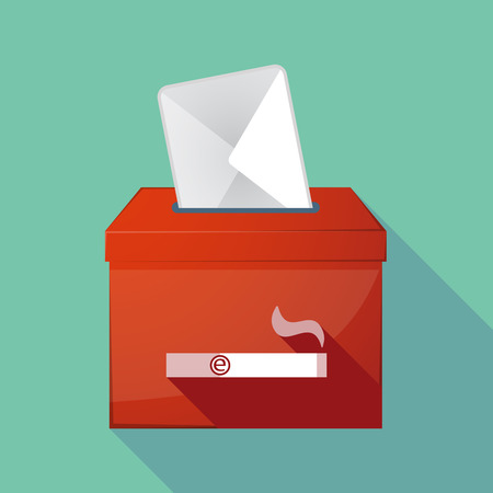 Illustration of a long shadow ballot box with an electronic cigarette