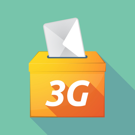 elect: Illustration of a long shadow vector ballot box icon with    the text 3G