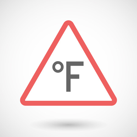 Illustration of an isolated warning line art icon with  a farenheith degrees sign