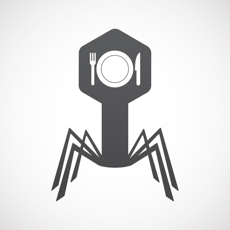 Illustration of an isolated virus icon with  a dish, knife and a fork icon