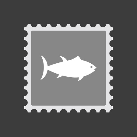 tuna fish: Illustration of an isolated mail stamp icon with  a tuna fish