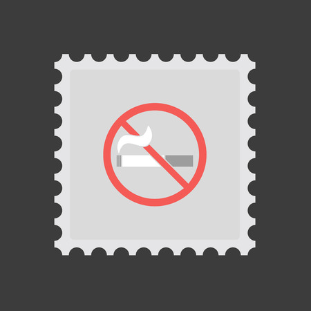 Illustration of an isolated mail stamp icon with  a no smoking sign