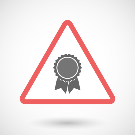 Illustration of an isolated warning line art icon with  a ribbon award