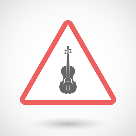Illustration of an isolated warning line art icon with  a violin