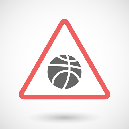 Illustration of an isolated warning line art icon with  a basketball ball