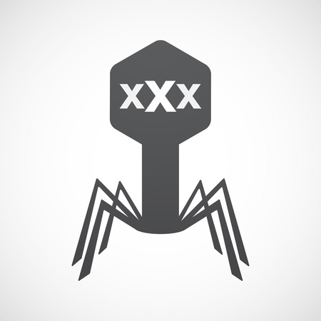 Illustration of an isolated virus icon with  a XXX letter icon
