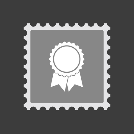 Illustration of an isolated mail stamp icon with  a ribbon award Illustration