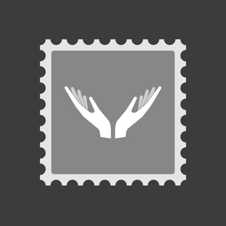 postmark: Illustration of an isolated mail stamp icon with  two hands offering