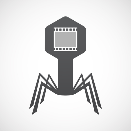 Illustration of an isolated virus icon with   a photographic 35mm film strip