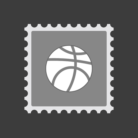 Illustration of an isolated mail stamp icon with  a basketball ball
