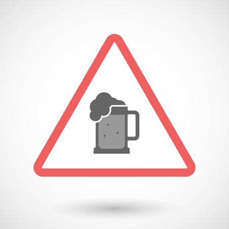 tarro cerveza: Ilustración de una línea de advertencia icono del arte aislado con un icono de jarra de cerveza