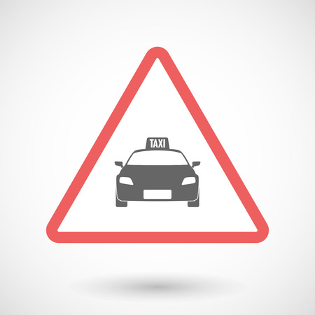 alerts: Illustration of an isolated warning line art icon with  a taxi icon