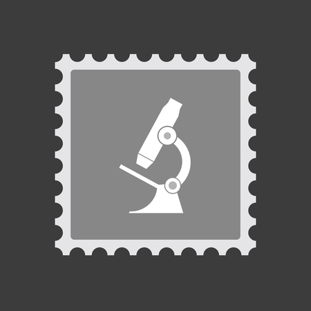 Illustration of an isolated mail stamp icon with  a microscope icon