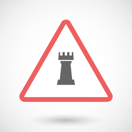 chess rook: Illustration of an isolated warning line art icon with a  rook   chess figure
