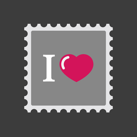 glyph: Illustration of an isolated mail stamp icon with  an  I like glyph