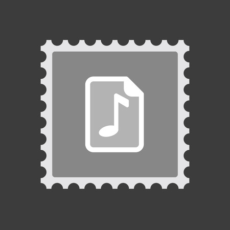 music score: Illustration of an isolated mail stamp icon with  a music score icon